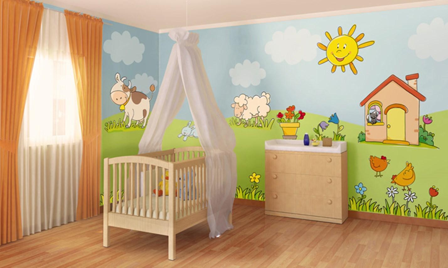 Stickers murali bambini cameretta benvenuti in campagna leostickers - Camerette country per bambini ...